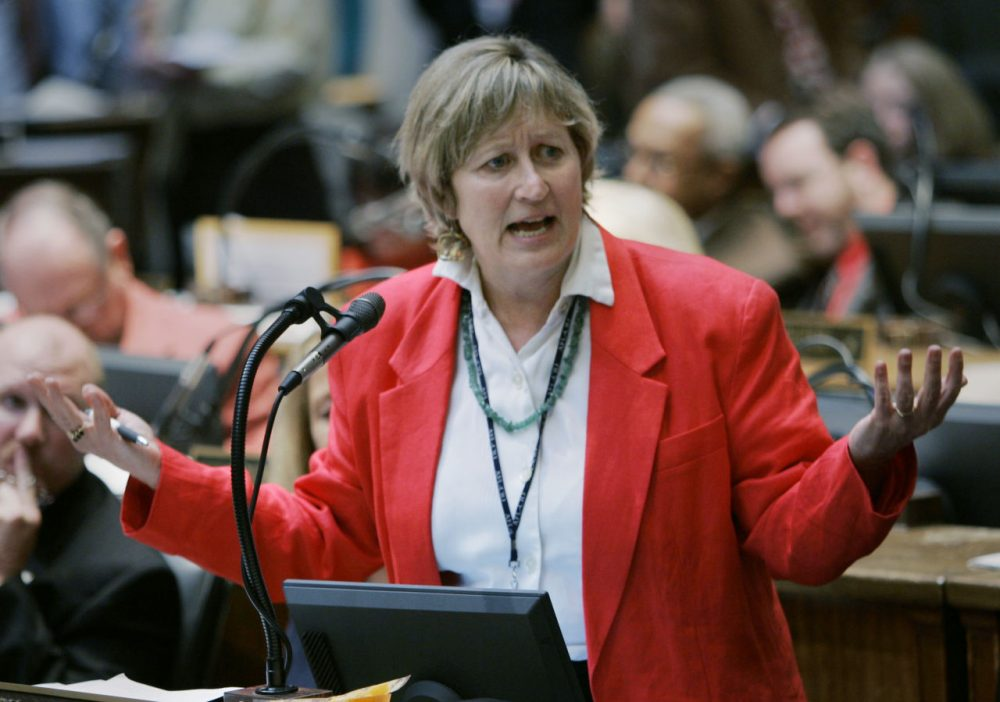 Rep. Mary Lou Marzian, D- Louisville, talks about a bill that would raise the cigarette tax and impose a 6 percent retail sales tax on all alcohol products in Frankfort, Ky., Wednesday, Feb. 11, 2009.  The bill passed the full House.  (AP Photo/Ed Reinke)