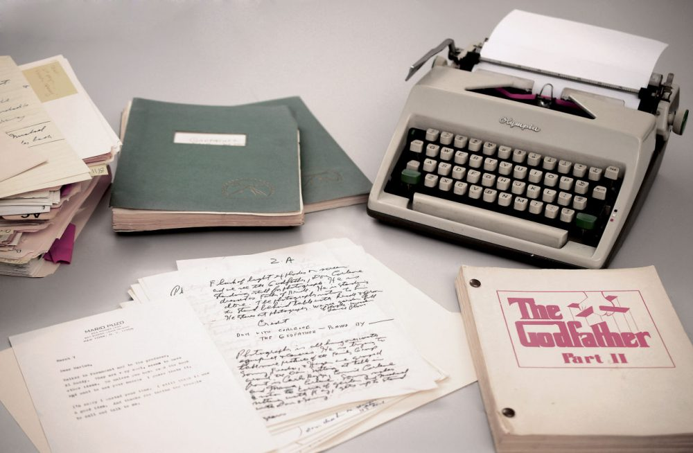 Photo provided by RR Auction shows Mario Puzo's 1965 Olympia typewriter with manuscripts and versions of both Godfather I and II screenplays. (RR Auction/AP)
