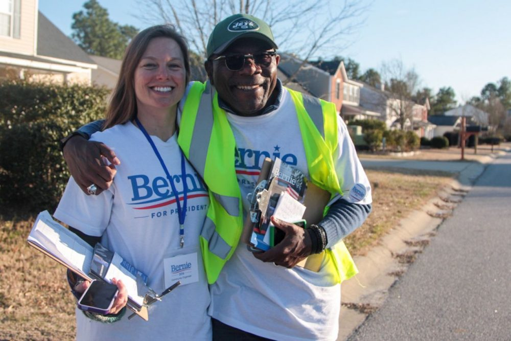Bernie Sanders supporters canvas a South Carolina neighborhood. (Dean Russell)