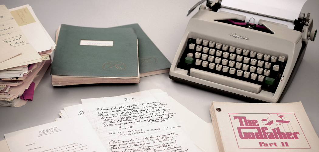 Mario Puzo''s 1965 Olympia typewriter with manuscripts and versions of both Godfather I and II screenplays. (RR Auction via AP)