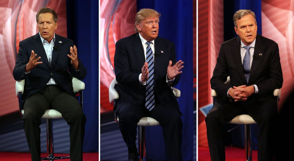 From left, Republican presidential candidates Gov. John Kasich, Donald Trump and Jeb Bush participate in a CNN South Carolina Republican Presidential Town Hall with host Anderson Cooper on February 18, 2016 in Columbia, South Carolina. (Spencer Platt/Getty Images)