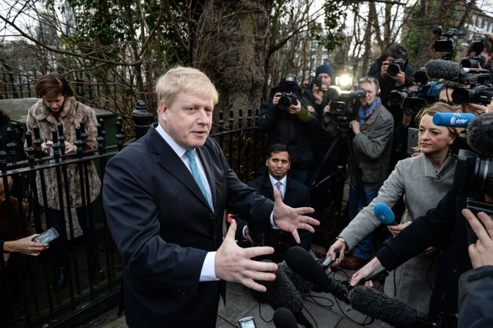 Mayor of London Boris Johnson announces that he will be backing the 'Leave EU' campaign whilst speaking to the press outside his London home on February 21, 2016 in London, England. Mr Johnson announced his intentions for the EU referendum and to which campaign he will lend his support.  (Chris Ratcliffe/Getty Images)