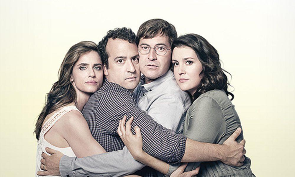 "Amanda Peet, Steve Zissis, Mark Duplass and Melanie Lynskey, stars of the HBO series ""Togetherness."" (HBO)"