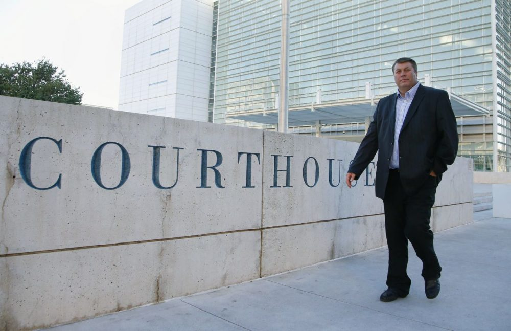 Willie Jessop, a former spokesperson and head of security of the Fundamentalist Church of Jesus Christ of Latter Day Saints before leaving the sect in 2011, leaves the Sandra Day O'Connor United States District Court after a day of testifying during a federal civil rights trial against two polygamous towns on the Arizona-Utah line, Tuesday, Jan. 26, 2016, in Phoenix. (Ross D. Franklin/AP)