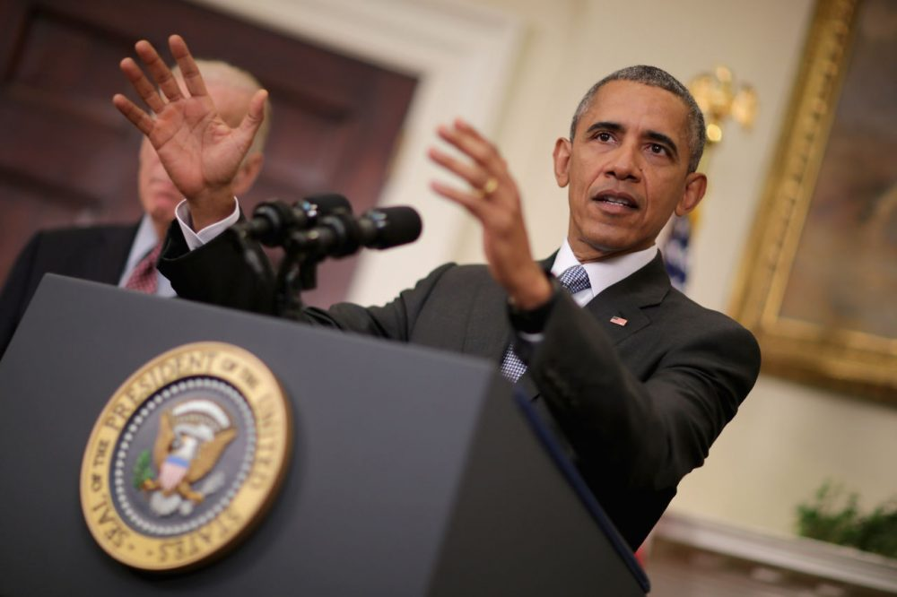 President Barack Obama makes a statement about his plan to close the detention camp at the Guantanamo Bay Naval Base and relocate the terrorism suspects there to the United States in the Roosevelt Room at the White House February 23, 2016 in Washington, D.C. Attempting to follow through with a campaign pledge he made in 2008, Obama will continue to face an uphill battle to close the prison in Cuba because of strong opposition to the plan by congressional Republicans. (Chip Somodevilla/Getty Images)