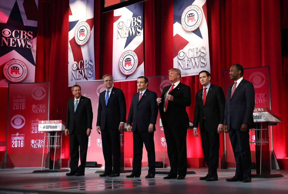 Republican presidential candidates from left: Ohio Gov. John Kasich, Jeb Bush, Sen. Ted Cruz (R-TX), Donald Trump, Sen. Marco Rubio (R-FL) and Ben Carson stand on stage during a CBS News GOP Debate February 13, 2016 at the Peace Center in Greenville, South Carolina. (Spencer Platt/Getty Images)