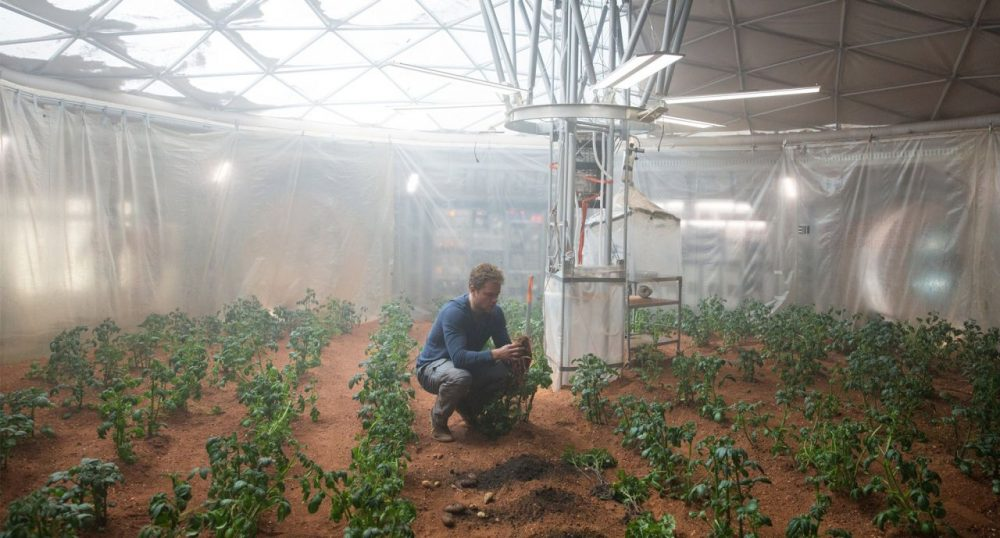 "Mark Watney, played my Matt Damon, grows potatoes on Mars in ""The Martian."" (Courtesy 20th Century Fox)"