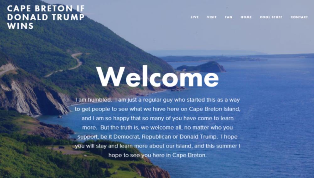 "A screenshot from the ""Cape Breton If Donald Trump Wins website. (cbiftrumpwins.com)"