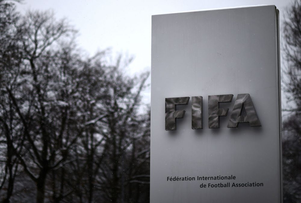 A FIFA logo is seen near FIFA headquarters, ahead of tomorrow's FIFA Congress to elect a new FIFA president at Hallenstadion on February 25, 2016 in Zurich, Switzerland.  (Matthias Hangst/Getty Images)