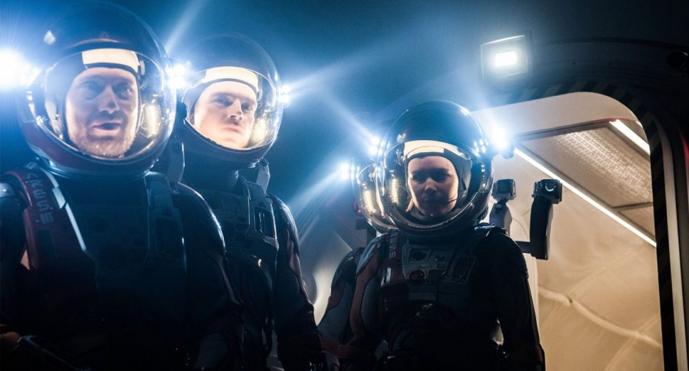 "From left to right, Aksel Hennie as Alex Vogel, Sebastian Stan as Chris Beck and Kate Mara as Beth Johanssen in ""The Martian."" (Courtesy 20th Century Fox)"