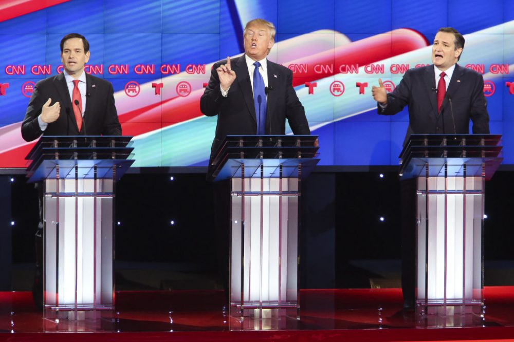 Republican presidential candidates (from left) Sen. Marco Rubio (R-FL), Donald Trump and Sen. Ted Cruz (R-TX) are pictured during the Republican presidential debate at the Moores School of Music at the University of Houston on February 25, 2016 in Houston, Texas. The debate is the last before the March 1 Super Tuesday primaries. (Michael Ciaglo-Pool/Getty Images)