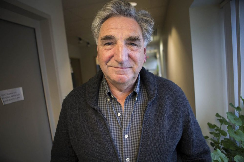 "Jim Carter, the British actor who plays Mr. Carson in ""Downton Abbey,"" is in New England, performing as a magician and entertainer to raise money for disaster relief in Nepal. (Jesse Costa/WBUR)"