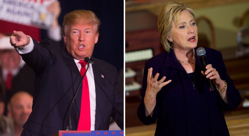 A new WBUR poll shows Republican Donald Trump (left) and Democrat Hillary Clinton are the frontrunners in their respective primaries in Massachusetts. (David Calvert,  Mark Makela/Getty Images)