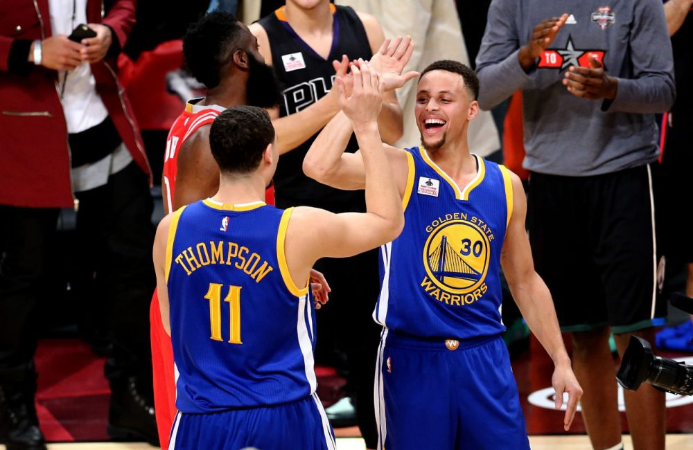 Steph Curry and Klay Thompson have the Warriors off to the best start in NBA history, but are they the greatest team of all time? (Vaughn Ridley/Getty Images)