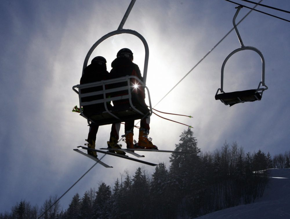 Ski racers take a chair lift up the hill during a free skiing session 08 December, 2005 in Aspen, Colorado.  In cold weather skiers were preparing for the World Cup Super G scheduled for 09 December, 2005 in Aspen.  (Don Emmert/AFP/Getty images)