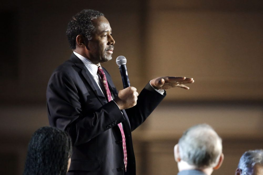 Republican presidential candidate retired neurosurgeon Ben Carson speaks at the National Religious Broadcasters convention Friday, Feb. 26, 2016, in Nashville, Tenn. (Mark Humphrey/AP)