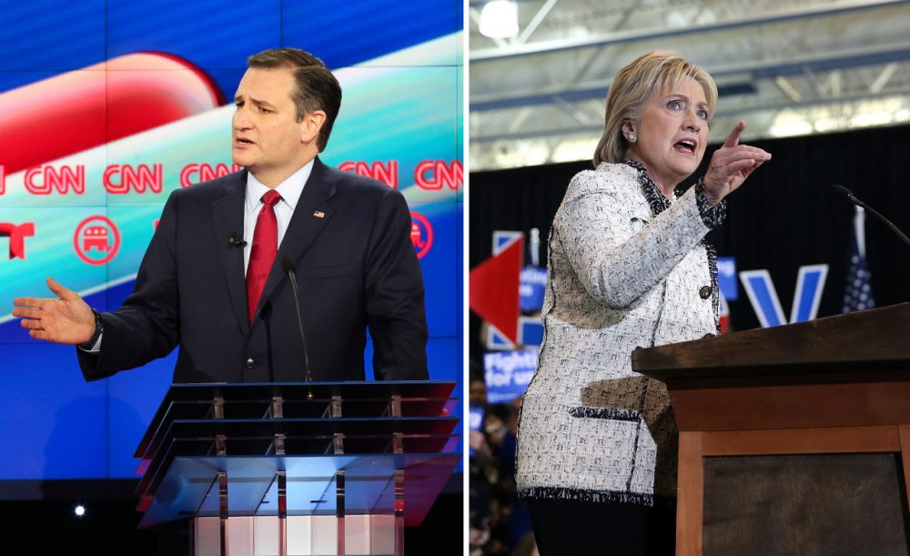 Sen. Ted Cruz (R-TX) is pictured at the Republican debate on Feb. 25, 2016, and Hillary Clinton speaks in South Carolina on Feb. 27, 2016. (Michael Ciaglo, Justin Sullivan/Getty Images)