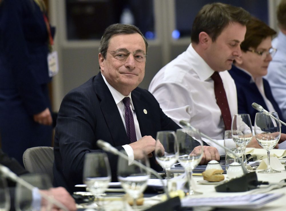 European Central Bank President Mario Draghi attends a European Union (EU) heads of state dinner during an EU summit in Brussels on February 19, 2016. EU leaders on February 19 agreed on a deal on British Prime Minister David Cameron's controversial reform demands to keep his country in the EU, Lithuania's president said. The agreement comes after two days and nights of haggling with European leaders at a Brussels summit. / AFP / POOL / Martin Meissner        (Photo credit should read MARTIN MEISSNER/AFP/Getty Images)