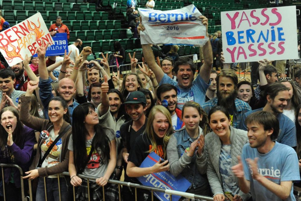 Supporters wait to greet Democratic presidential candidate Bernie Sanders at the end of a rally at Colorado State University's Molby Areana in Ft. Collins, Colorado, February 28, 2016. (Jason Connolly/AFP/Getty Images)