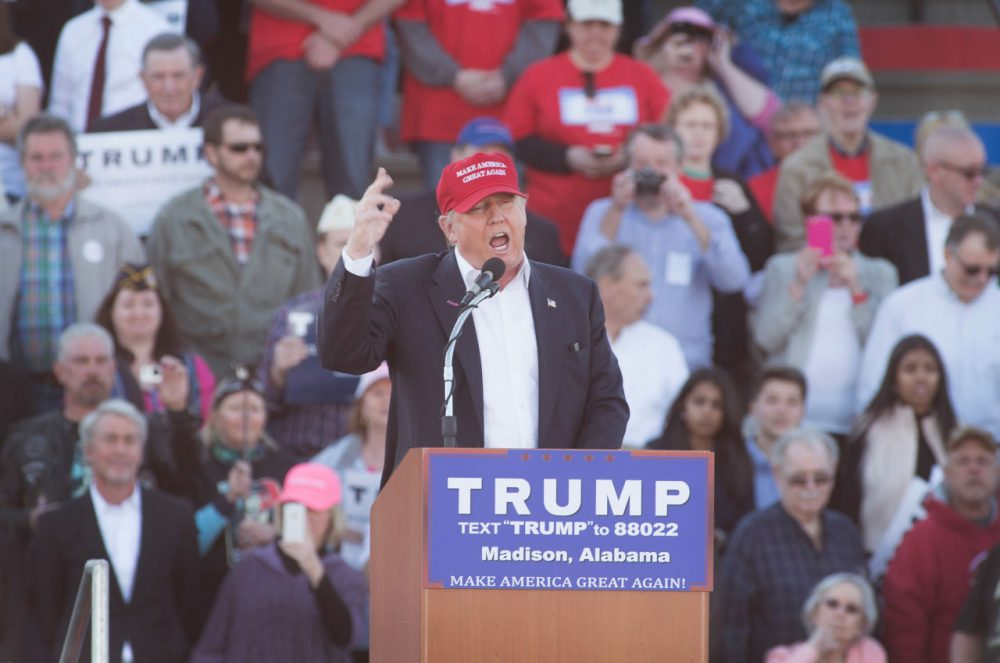 Republican presidential candidate Donald Trump speaks at a campaign rally at the Madison City Schools Stadium on February 28, 2016 in Madison, Alabama. Trump is in Alabama ahead of the Super Tuesday primaries March 1. (Scott Olson/Getty Images)
