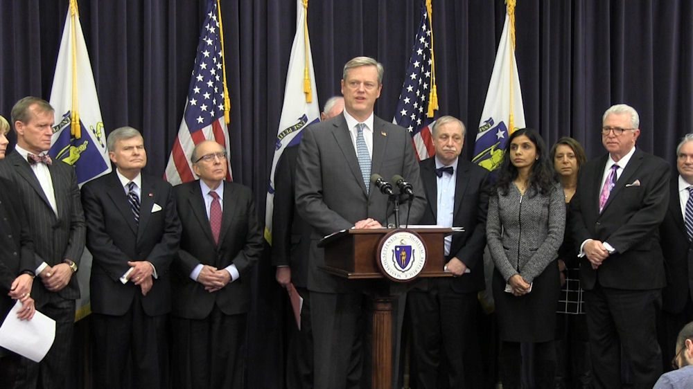 Gov. Baker and health administration officials joined heads of local dental medicine schools Thursday to announce an agreement on new educational standards that introduce training for opioid abuse prevention and management into their core curriculums. (Antonio Caban/SHNS)