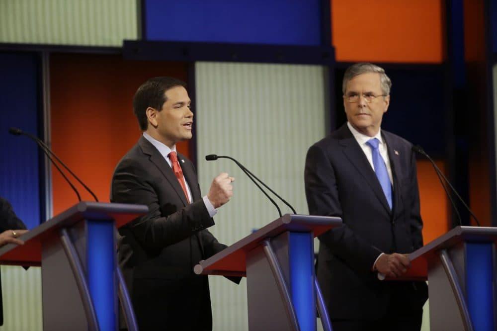 Marco Rubio and Jeb Bush at a GOP debate on Thursday, Jan. 28, 2016 in Des Moines, Iowa. (Chris Carlson/AP)