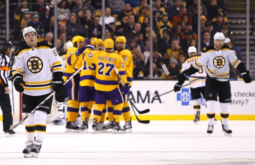 The Bruins turned in a historically bad performance in Tuesday night's 9-2 loss to the LA Kings. (Winslow Townson/AP)
