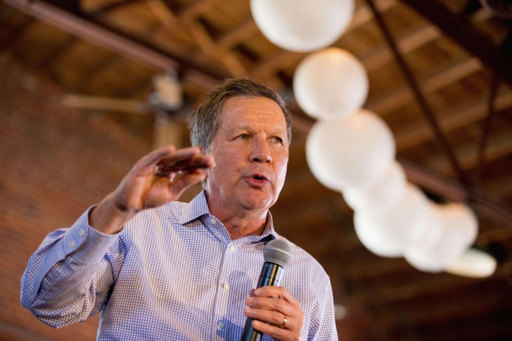 Republican presidential candidate John Kasich speaks at a town hall in Columbia, South Carolina, on Friday. The Ohio governor is set to hold an event in Massachusetts Saturday night. (Andrew Harnik/AP)