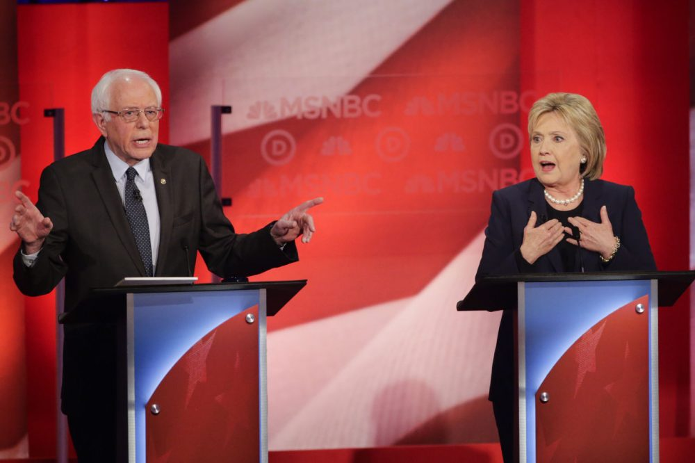 """Bernie Sanders and Hillary Clinton clashed on the meaning of the word """"progressive"""", among other issues, in last night's primary debate in New Hampshire. (David Goldman/AP)"""
