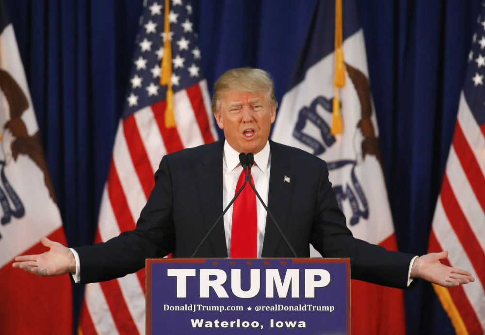 Republican presidential candidate Donald Trump speaks during a campaign event, Monday, Feb. 1, 2016 in Waterloo, Iowa. (Paul Sancya/AP)