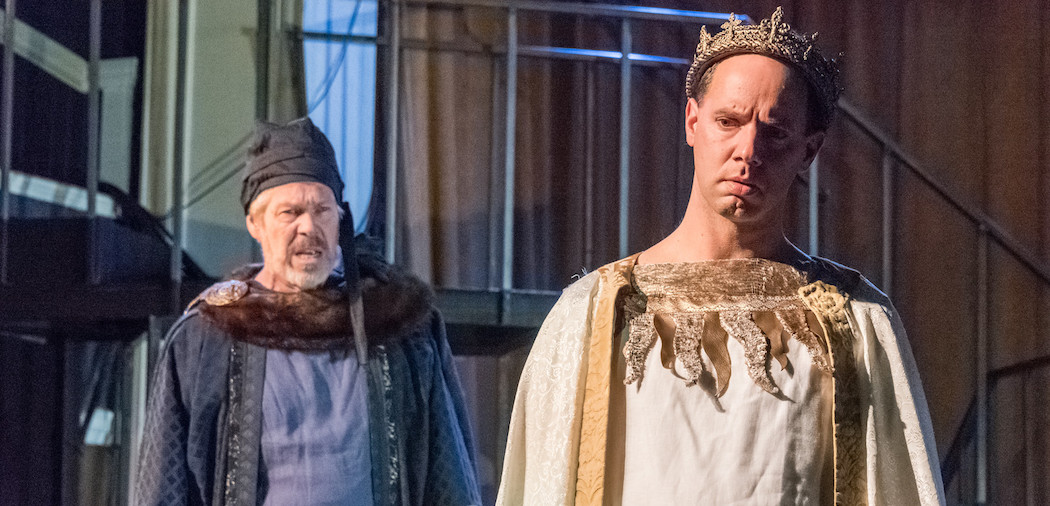 "Robert Walsh and Doug Lockwood in ""Richard II."" (Courtesy Stratton McCrady/Actors' Shakespeare Project)"