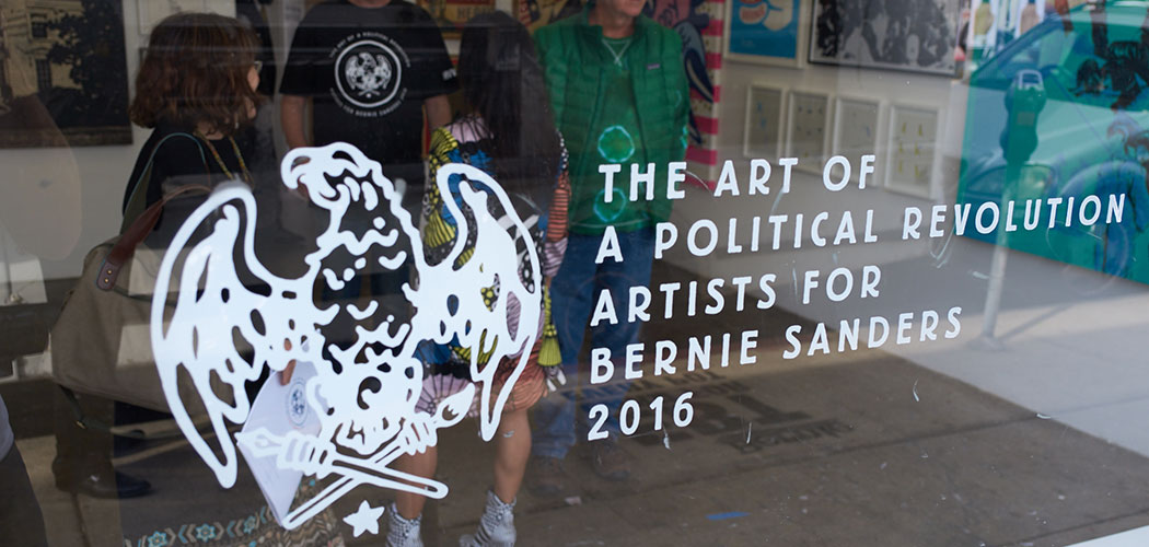 """The Art of a Political Revolution"" logo designed by Marin Horikawa of Vermont displayed in the window of Los Angeles' HVW8 gallery in January. (Mike Selsk/Courtesy Bernie Sanders 2016)"