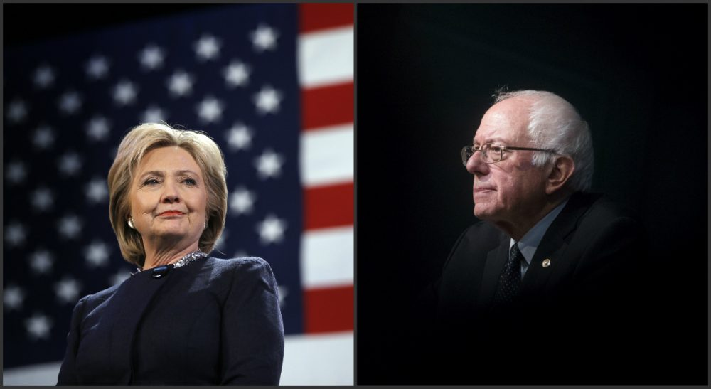 "Andrew Carleen: ""Sanders has steadfastly opposed military entanglements throughout his time in Congress, while Clinton's background is littered with support for failed overseas adventures."" Pictured: Democratic presidential candidates Hillary Clinton, left, and Bernie Sanders, right, during campaign stops in New Hampshire in January and February, 2016, respectively. (Matt Rourke and John Minchillo/AP)"