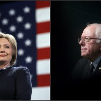 """Andrew Carleen: """"Sanders has steadfastly opposed military entanglements throughout his time in Congress, while Clinton's background is littered with support for failed overseas adventures."""" Pictured: Democratic presidential candidates Hillary Clinton, left, and Bernie Sanders, right, during campaign stops in New Hampshire in January and February, 2016, respectively. (Matt Rourke and John Minchillo/AP)"""