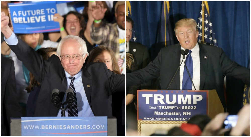 Left, Democratic presidential candidate, Sen. Bernie Sanders, I-Vt., reacts to the cheering crowd at his primary night rally in Manchester, N.H. Right, Republican presidential candidate, businessman Donald Trump speaks to supporters during a primary night rally in Manchester, N.H. (Both photos, AP)