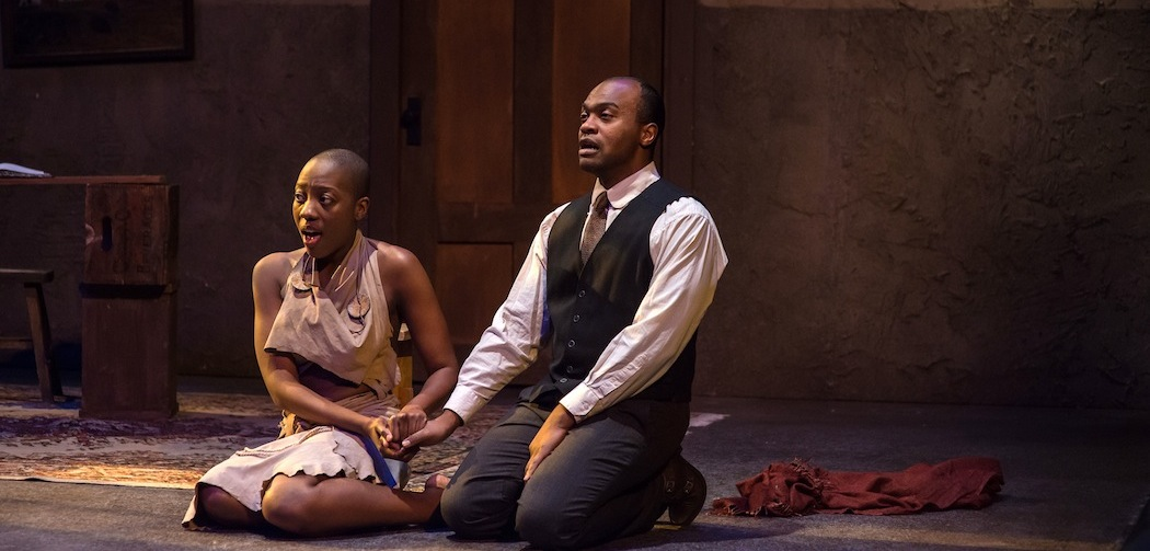 "Adobuere Ebiama and Maurice Emmanuel Parent in Underground Railway Theater's production of ""The Convert."" (Courtesy A.R. Sinclair Photography/Central Square Theater)"