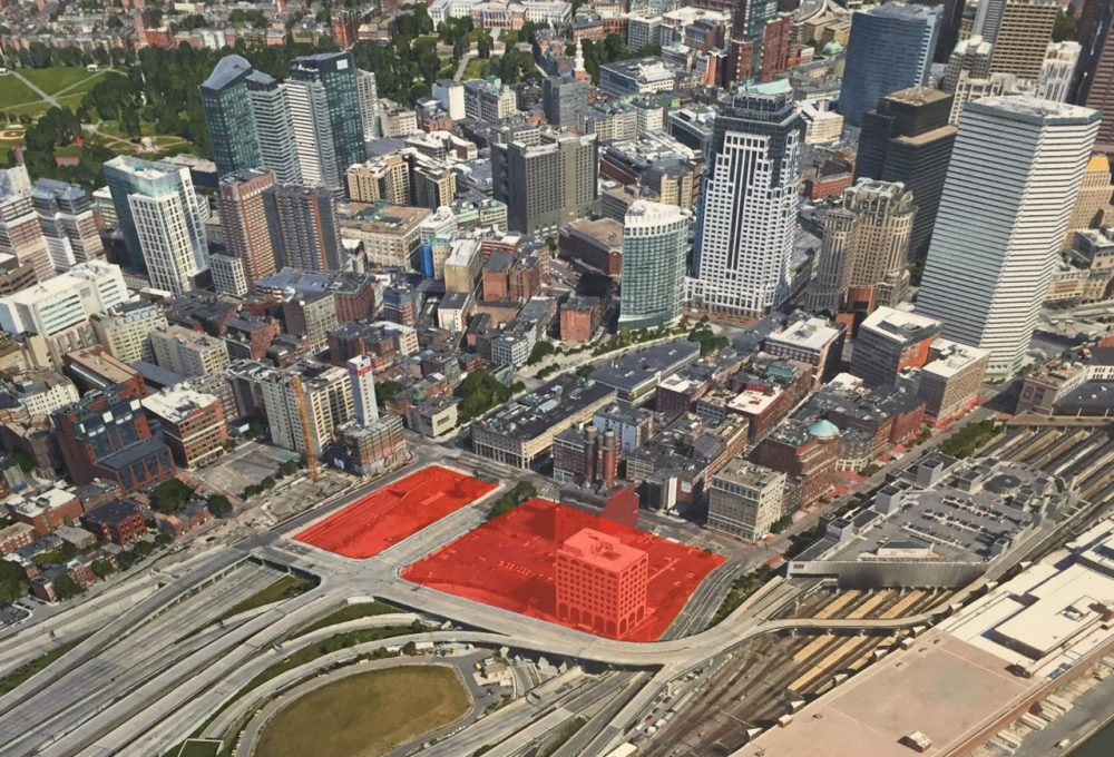 The area in red, on Kneeland Street in Boston, is slated for redevelopment, as a result of the city-state partnership. (Courtesy of the governor's office)