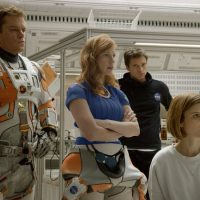 """From left: Matt Damon, Jessica Chastain, Sebastian Stan, Kate Mara and Aksel Hennie portray the crewmembers of the fateful mission to Mars in """"The Martian."""" (Courtesy 20th Century Fox)"""