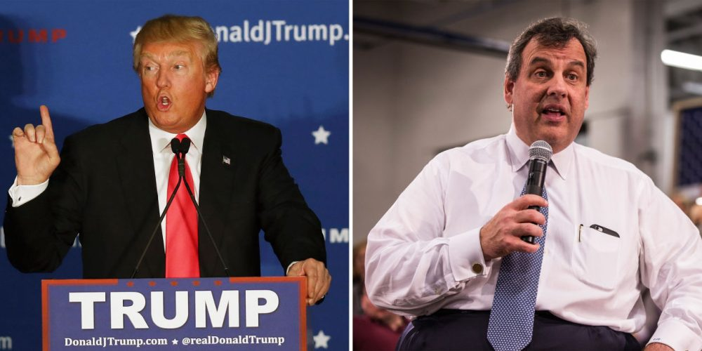 Left: Donald Trump speaks during a campaign event at Hampshire Hills Athletic Club on February 2, 2016 in Milford, Iowa. (Joe Raedle/Getty Images) Right: Chris Christie answers questions at the town hall at Nashua Community College on February 1, 2016 in Nashua, New Hampshire. (Andrew Burton/Getty Images)