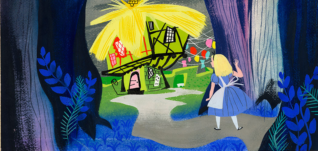 "Mary Blair, ""Visual development of Alice looking at the White Rabbit's house"" for ""Alice in Wonderland,"" 1951, gouache on paperboard. (Courtesy Eric Carle Museum of Picture Book Art)"