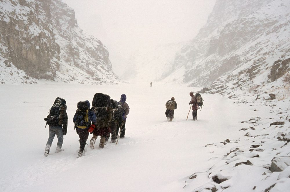 Dave Anderson and his group encountered a snowstorm on their 60-mile trek along the Zanskar River. (Courtesy: Dave Anderson)