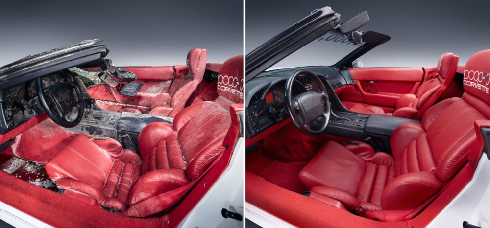 Before and after photos of the interior of the 1 millionth Corvette – a white 1992 convertible. (GM)