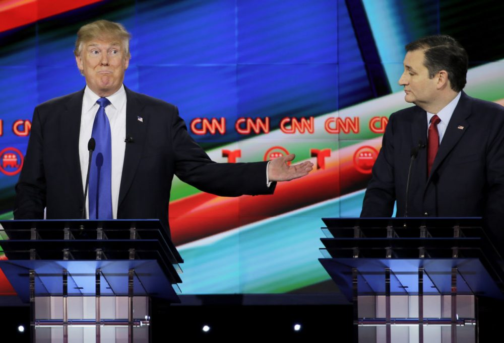 Sen. Ted Cruz and Donald Trump at Thursday's Republican presidential primary debate in Texas (AP Photo/David J. Phillip)