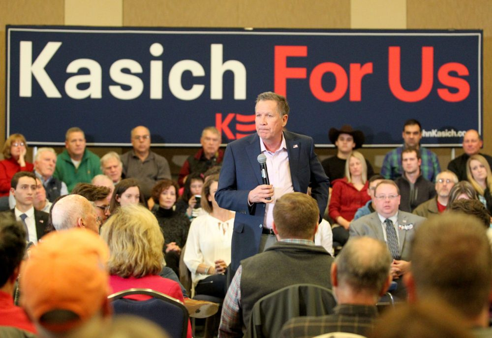 Republican presidential candidate Ohio Gov. John Kasich speaks at a town hall meeting Sunday in Springfield, Mass. (AP Photo/Mary Schwalm)
