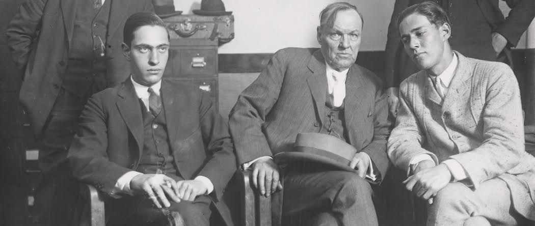 Defense attorney Clarence Darrow (seated center) meets with his clients Nathan Leopold (seated left) and Richard Loeb (seated right) in 1924. (Courtesy Charles Deering McCormick Library of Special Collections, Northwestern University)
