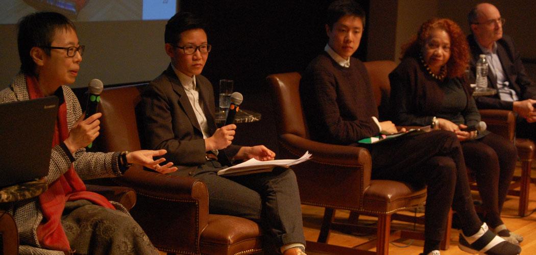 "Reiko Tomii (from left), Xtina Huilan Wang, Ryan Wong, Barbara Lewis and Museum of Fine Arts Director Matthew Teitelbaum speak at ""Kimono Wednesdays: A Conversation"" at the MFA Feb. 7. (Greg Cook/WBUR)"
