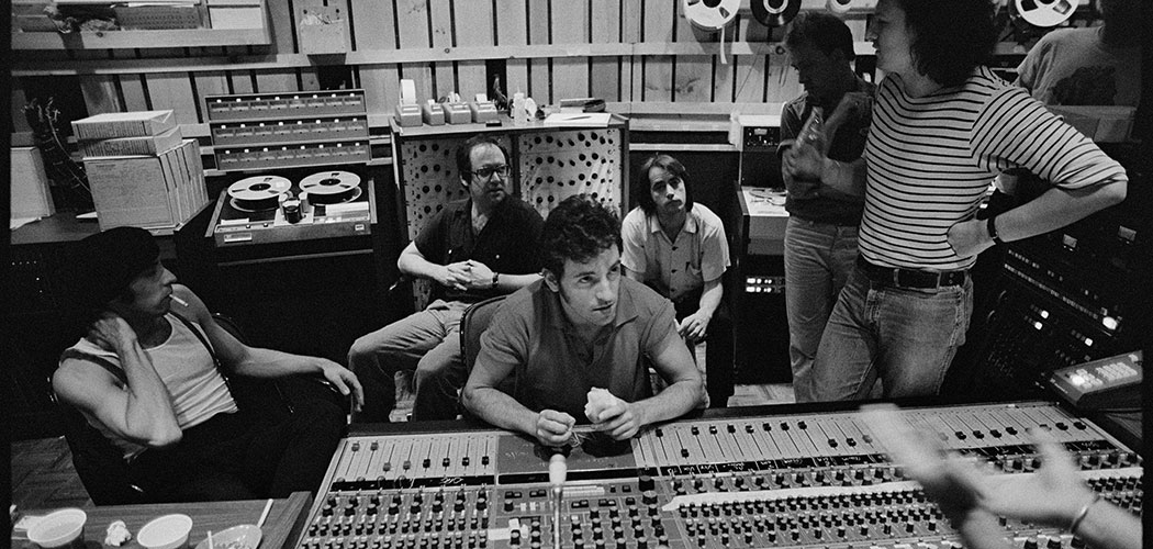 "Bruce Springsteen (center) working on recording his 1980 album ""The River."" (Joel Bernstein)"