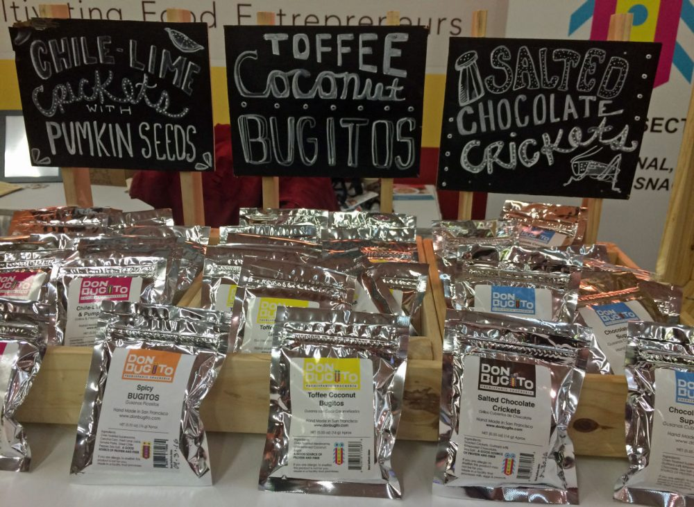 Flavored bug snacks at the Winter Fancy Food Show in San Francisco. (Kathy Gunst)