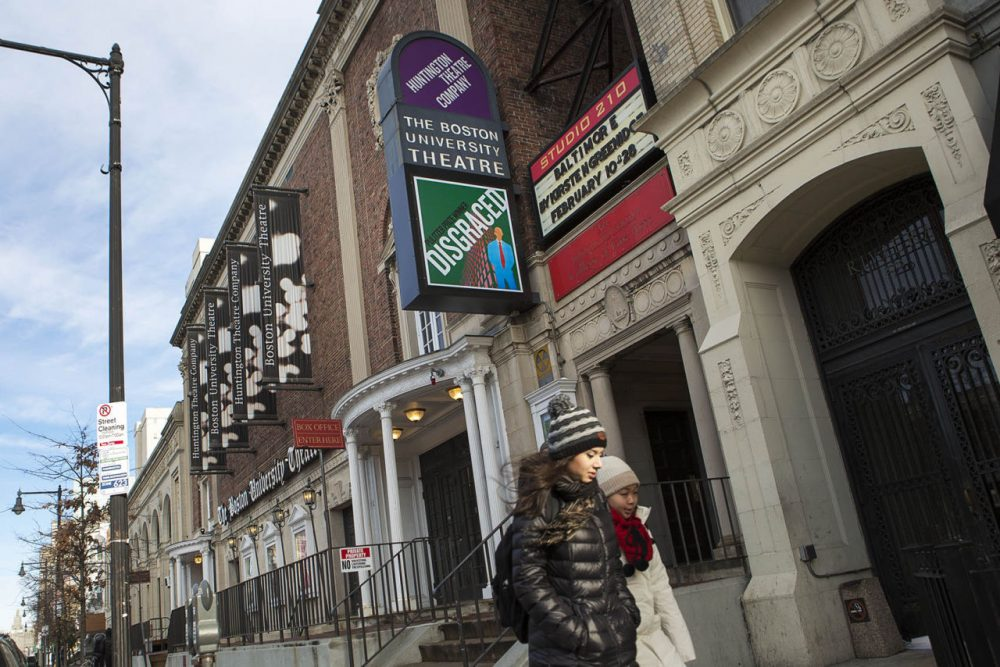 The Huntington Theatre Company has been staging productions at the BU Theatre on Huntington Avenue for 34 years. BU announced Monday it had sold the theater, as well as two adjoining buildings. (Jesse Costa/WBUR)
