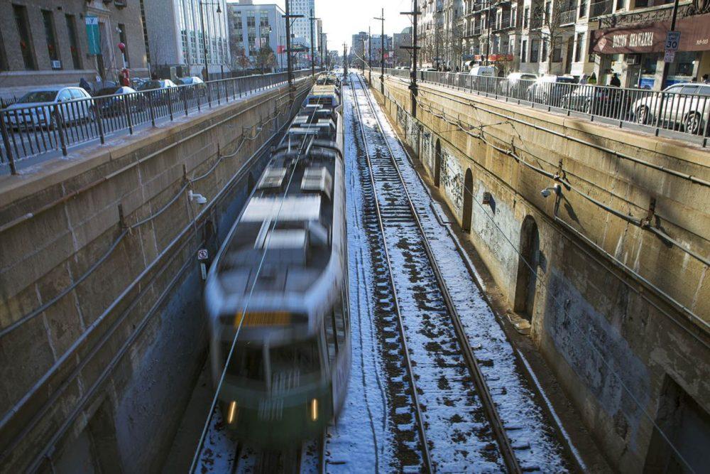 An MBTA Green Line train on Huntington Avenue heads underground. (Jesse Costa/WBUR)